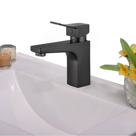 Single Hole Single Handle Bathroom Faucet W/ Drain Assembly Chrome Glossy Black - Brown Bronze