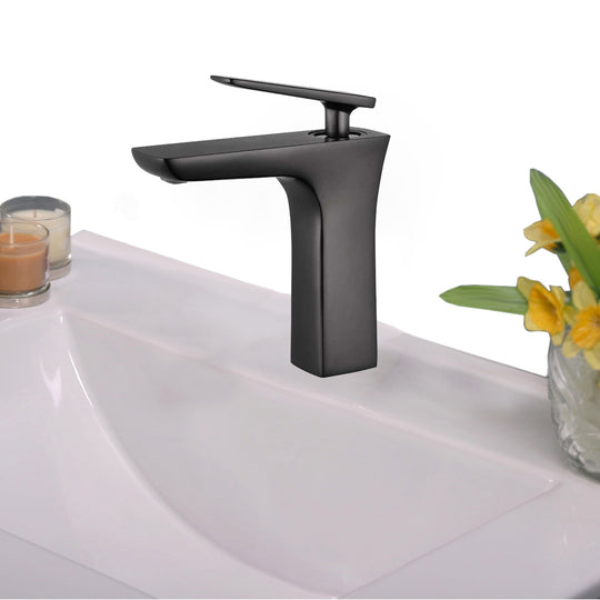Single Hole Single Handle Bathroom Faucet W/ Drain Assembly Oil Rubber Black - Brown Bronze