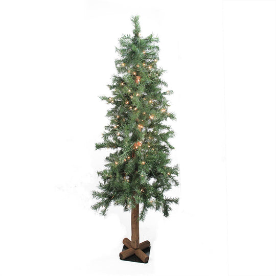 7' Pre-Lit Woodland Alpine Artificial Christmas Tree - Clear Lights Allstate 119200249