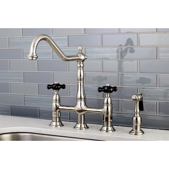 Duchess Bridge Traditional Kitchen Faucet with Brass Sprayer