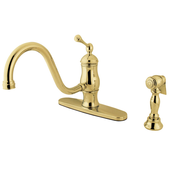 "Heritage Single Handle 8 "" Centerset Kitchen Faucet W/ Brass Sprayer"