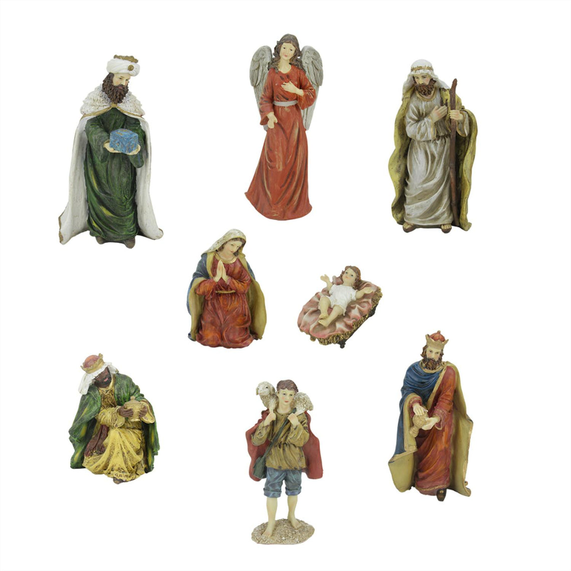 8-Piece Jewel Tone Inspirational Religious Christmas Nativity Figure Set 12.25