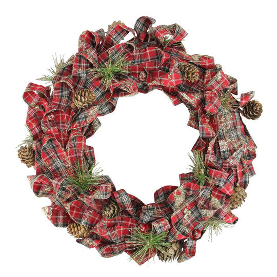 "14.25"" Holiday Moments Red Plaid Bows and Pine Cones Artificial Christmas Wreath - Unlit,"
