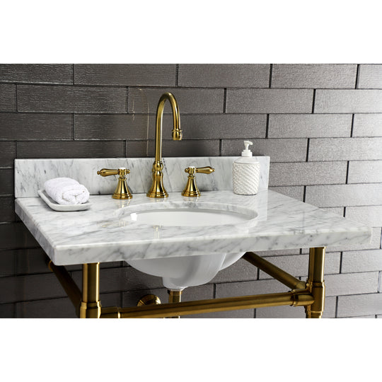 "Fauceture Templeton 30"" x 22"" Carrara Marble Vanity Top with Oval Sink, Carrara Marble"