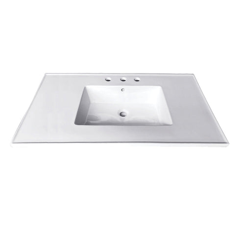 Fauceture Continental 31-Inch Ceramic Vanity Top, 4-Inch, 3-Hole, White