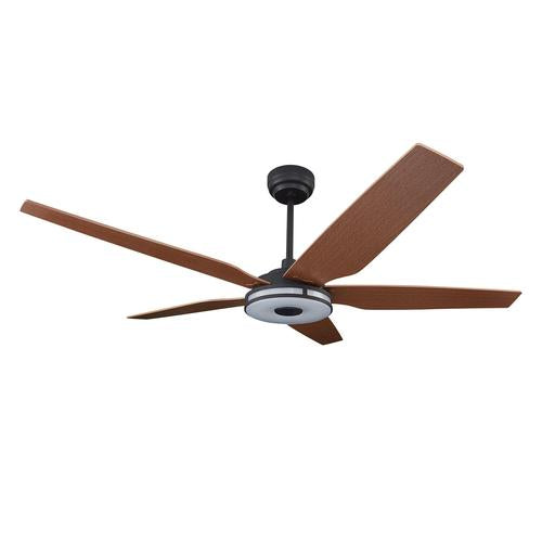 5-Blade Smart Ceiling Fan with LED Light Kit & Remote - Black/Fine Wood Grain Pattern