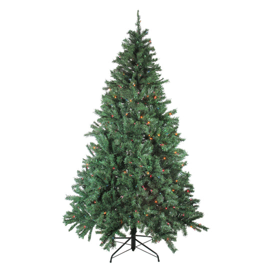 7.5' Pre-Lit Green Traditional Mixed Pine Artificial Christmas Tree - Multi Lights Bright Gate F90Fw54-1102T-500Lmul