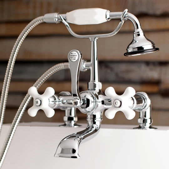 "Aqua Vintage 7 "" Tub Faucet & 2 Hole Installation With Hand Shower"