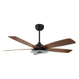 5-Blade, 30 Watt Smart Ceiling Fan with LED Light Kit & Remote - Black/Fine Wood Grain