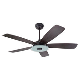 5-Blade, 30 Watt Smart Ceiling Fan W/ LED Light Kit & Remote - Black/Dark Wood Grain