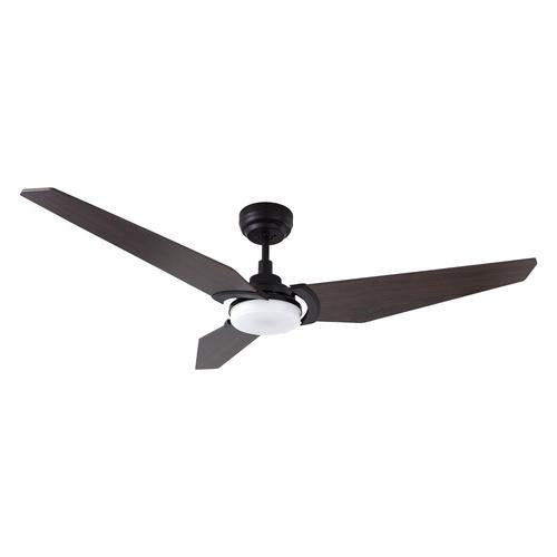 3 Blade Smart Ceiling Fan with LED Light Kit & Remote-Black/Dark Wood