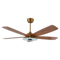 5-Blade, 30 Watt Smart Ceiling Fan with LED Light Kit & Remote - Gold/Wood Grain