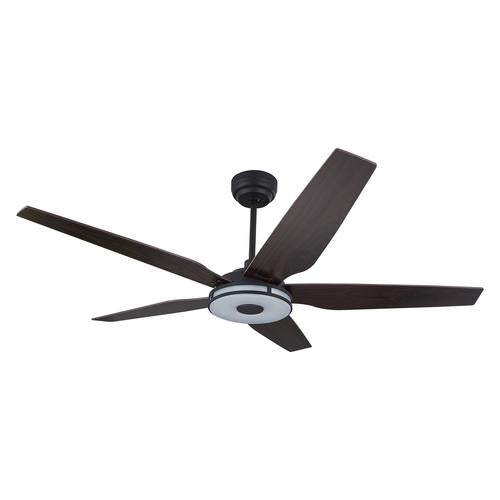 5-Blade Smart Ceiling Fan with LED Light Kit & Remote - Black/Dark Wood