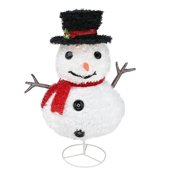"30"" Pre-Lit Outdoor Chenille Snowman Kid With Top Hat Christmas Outdoor Decoration"