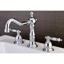 Load image into Gallery viewer, Heritage Widespread Bathroom Faucet With Brass Pop Up Drain Assembly and Metal Lever Handles