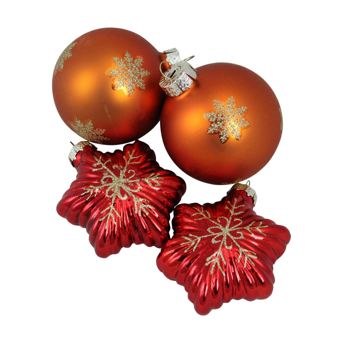 4ct Shiny Red Stars and Amber Orange Ball Design Glass Christmas Ornament Set