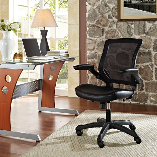 Veer Vinyl Office Chair with Mesh Back and Flip-Up Arms - For Computer Desk