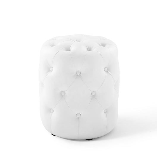 Anthem Tufted Button Round Faux Leather Ottoman, White