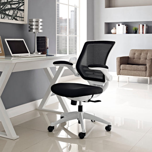 Edge White Base Office Chair With Mesh Back and Black, Grey Vinyl Seat With Flipup Arms - Black