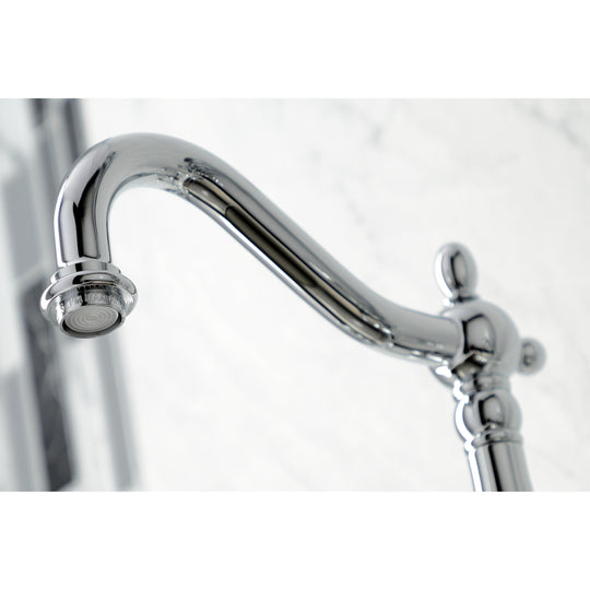 Heritage Wall Mount Bridge Kitchen Faucet W/ Brass Sprayer