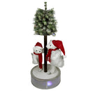 Load image into Gallery viewer, 4' Animated and Musical Lighted LED Ice Skating Polar Bears with Flocked Tree Christmas Decor