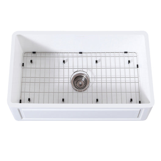 Gourmetier Farmhouse Kitchen Sink with Strainer and Grid, Matte White/Brushed