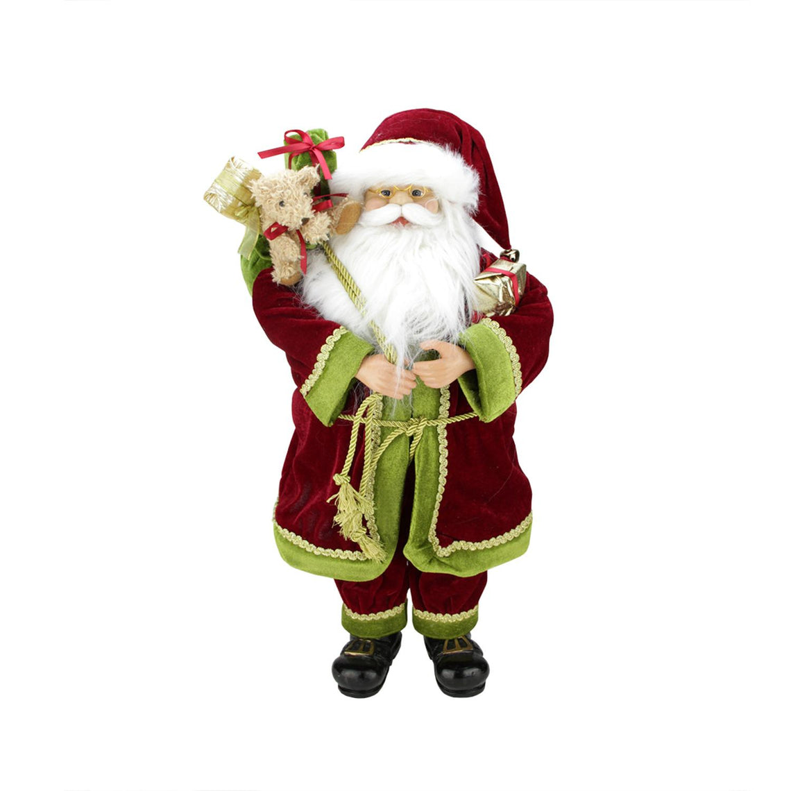 24 Inch Grand Imperial Red Green And Gold Standing Santa Claus Christmas Figure With Gift Bag