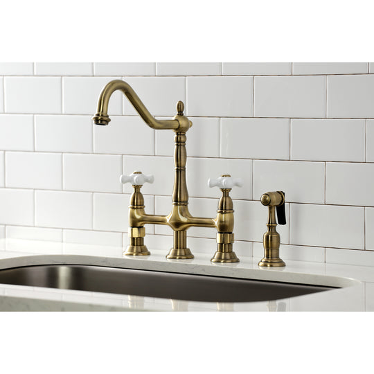 Heritage Bridge Kitchen Faucet With Brass Sprayer & Dual Procelain Cross Handle