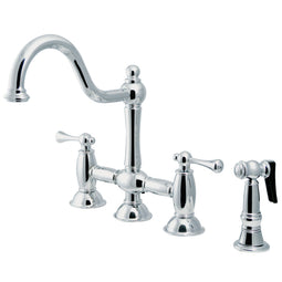 Restoration Bridge Kitchen Faucet With Brass Sprayer, Polished Chrome