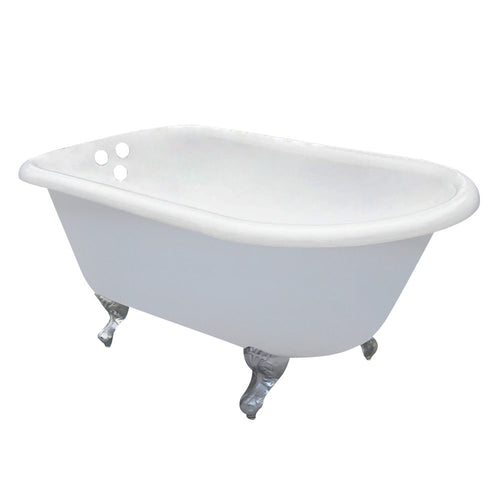 Cast Iron Roll Top Clawfoot Tub with 3-3/8 Inch Wall Drillings