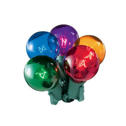 Set of 20 Multi-Color Transparent G50 Globe Christmas Lights - Green Wire