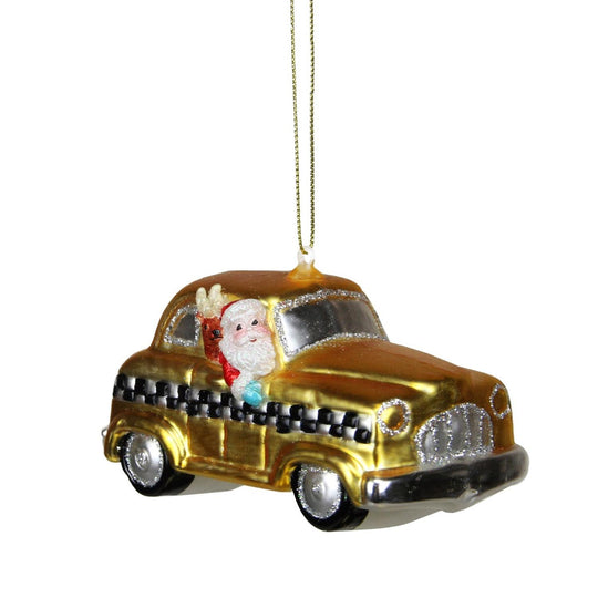 "4.25"" Glass Santa In Yellow  Silver And Black Checkered Taxi Cab Christmas Ornament"
