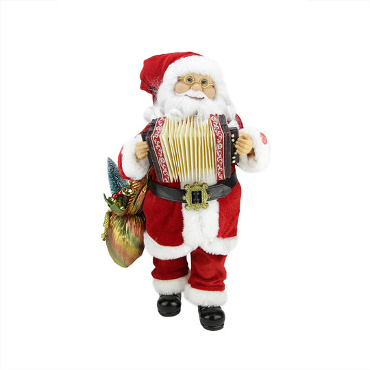 "18"" Battery Operated Animated & Musical Standing Santa Claus Christmas Figure with Accordion"