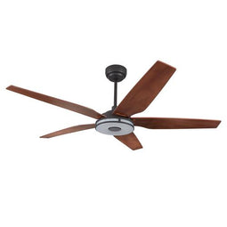 5-Blade Smart Ceiling Fan with LED Light Kit & Remote - Black/Wood Grain