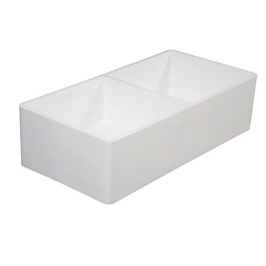 Gourmetier Solid Surface Double Bowl Farmhouse Kitchen Sink, Matte White