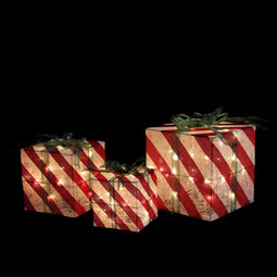 Set of 3 Prelit Red and White Striped Gift Box Outdoor Christmas Decorations 15