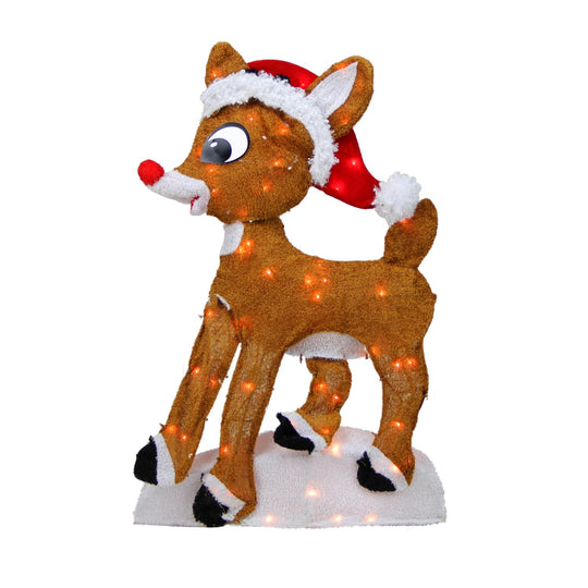"24"" Pre-Lit 2-D Rudolph the Red-Nosed Reindeer Christmas Yard Art Decoration - Clear Lights"