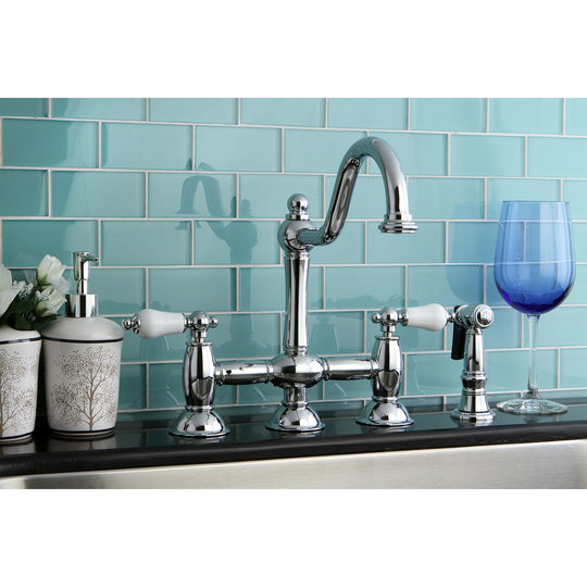 Restoration Bridge Kitchen Faucet W/ Brass Sprayer