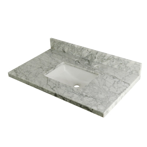 Templeton 36? x 22? Carrara Marble Vanity Top with Rectangular Sink, Carrara Marble