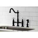 Load image into Gallery viewer, Heritage Bridge Kitchen Faucet With Brass Sprayer & Dual Procelain Cross Handle