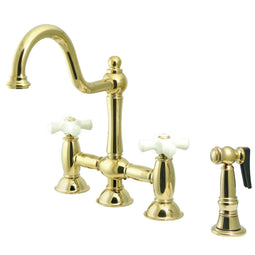Restoration Bridge Kitchen Faucet With Brass Sprayer In 9