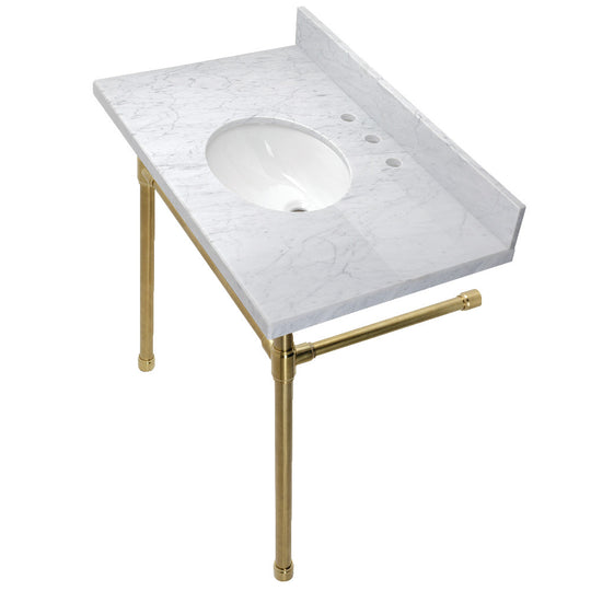 "Dreyfuss 36"" Carrara Marble Vanity Top with Stainless Steel Legs, Marble White/Brushed Brass"