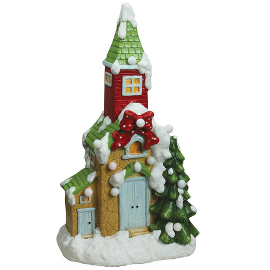 "21.25"" Christmas Morning Pre-Lit LED Snow Covered Church Decorative Christmas Tabletop Figure"