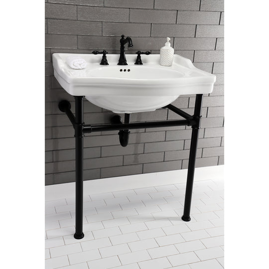 "Fauceture Victorian 30"" x 22"" Ceramic Console Sink Basin, White"