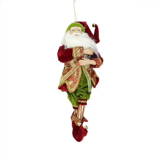 "18"" Enchanted Red  Gold and Green Poseable Whimsical Christmas Elf Figure"