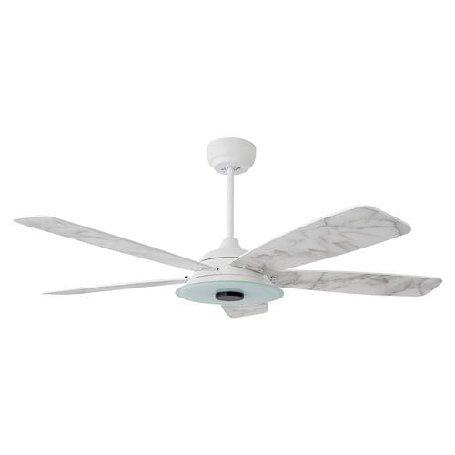 5-Blade, 30 Watt Smart Ceiling Fan with LED Light Kit & Remote - White/Marble Pattern