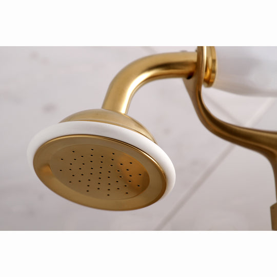 Wall Mount Clawfoot Tub Faucet With Hand Shower, Two Hole Installation