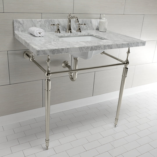 "Edwardian 36"" x 22"" Console Sink with Brass Legs (8-Inch, 3 Hole), Square Sink Basin"