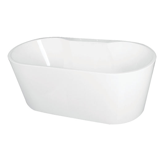 Acrylic Freestanding Tub with Deck for Faucet Installation, White