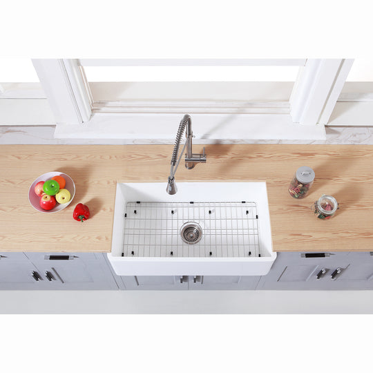 "Gourmetier 36"" x 18"" Farmhouse Kitchen Sink with Strainer and Grid"
